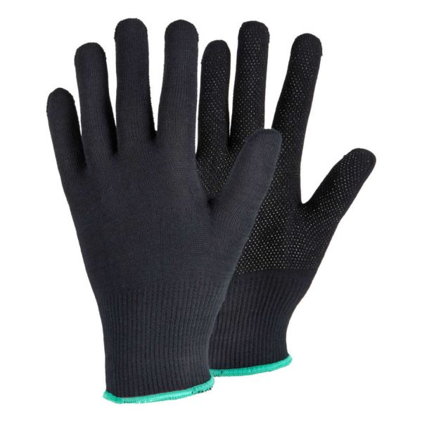 Tegera 925 schwarze Stoffhandschuhe mit Noppen